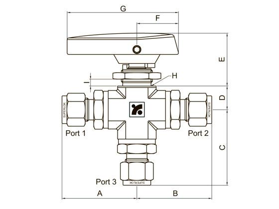 SUPERLOK SBVF36023-F4N-SS низкотемпературный 3-ходовый шаровой кран высокого давления